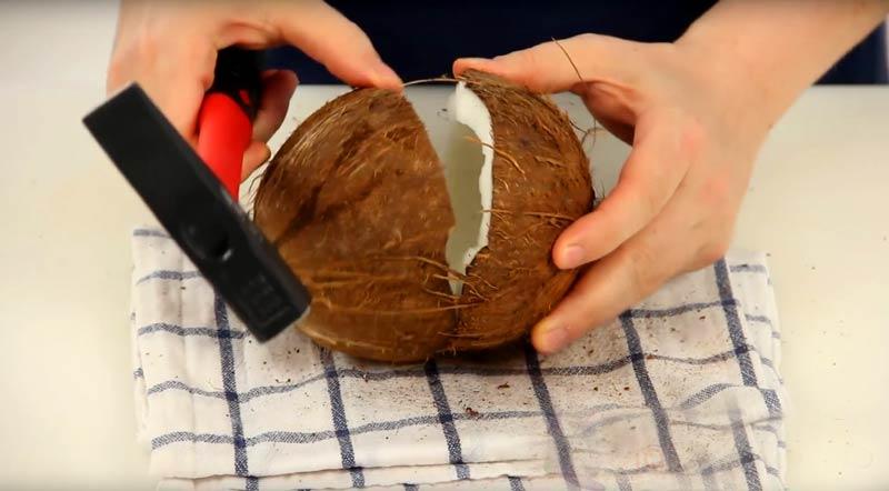 kokos-kladivo Ako otvoriť kokos: 5 rýchlych krokov