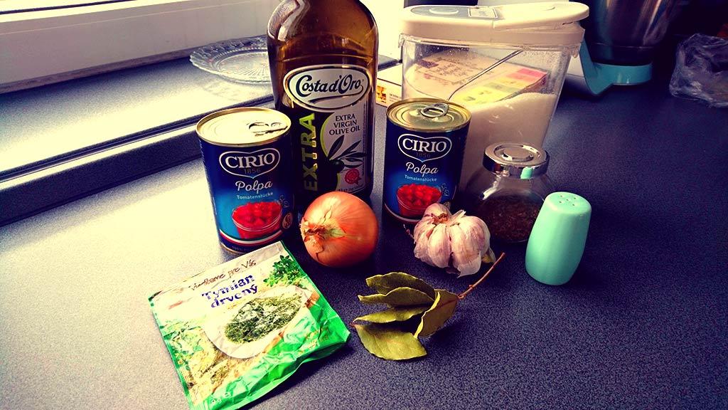 suroviny na paradajkovú polievku